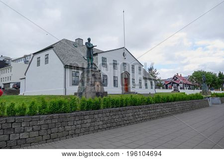 White Historical Building In The Center Of Reykjavik