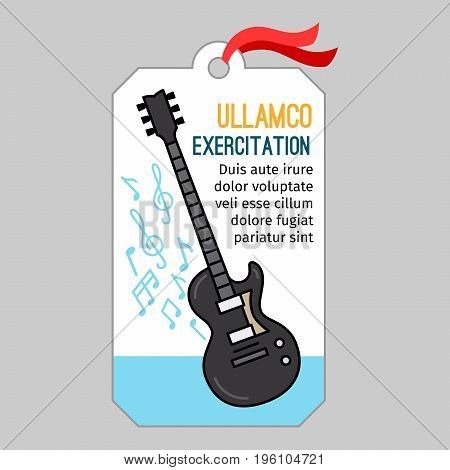 Music tag or musical label or banner with guitar vector illustration