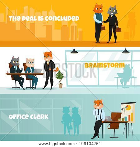 Three colored business cat horizontal banner set with the deal is concluded brainstorm and office clerk headlines vector illustration