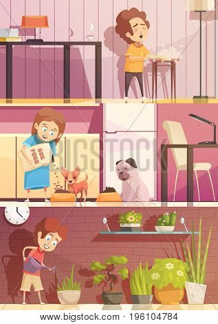 Kids feeding pets watering plants and cleaning rooms 3 horizontal retro cartoon banners set isolated vector illustration