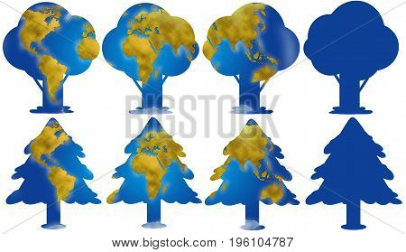 World planisphere and continents in different trees digital illustration