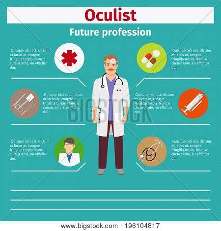 Future profession oculist infographic for students, vector illustration