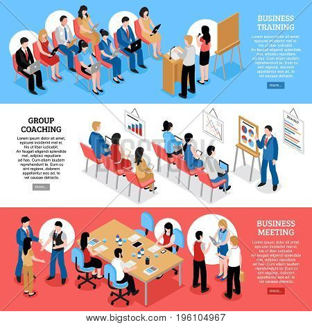 Business training group coaching and business meeting isometric horizontal banners with staff and audience vector illustration