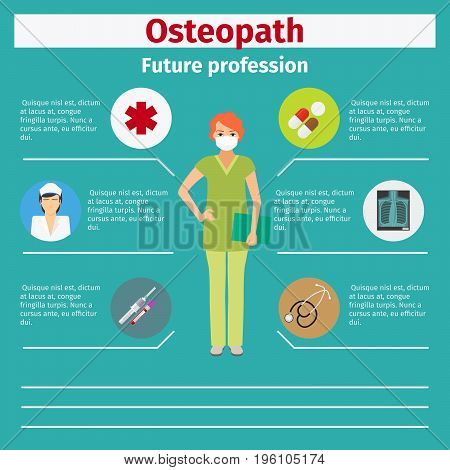 Future profession osteopath infographic for students, vector illustration