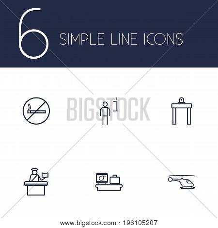 Set Of 6 Aircraft Outline Icons Set