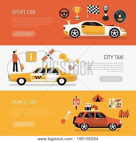 Flat set of colorful horizontal auto banners qith various kinds of cars isolated vector illustration