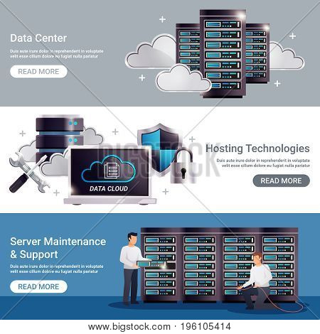 Three horizontal datacenter horizontal banner set with data center hosting technologies server maintenance support descriptions vector illustration