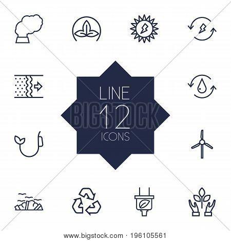 Set Of 12 Bio Outline Icons Set