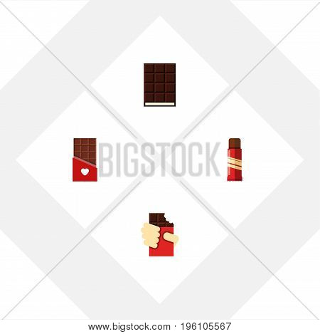 Flat Icon Sweet Set Of Sweet, Shaped Box, Dessert And Other Vector Objects