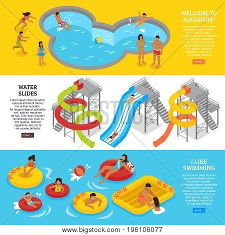 Water park horizontal banners set with swimming and recreation symbols isometric isolated vector illustration