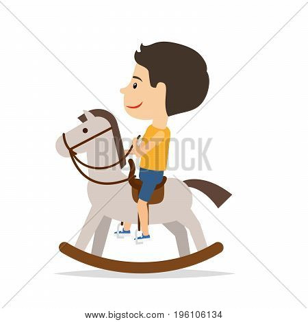 Little boy is sitting on a horse toy, isolated on the white background. Vector illustration