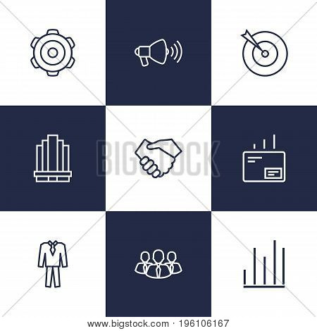 Set Of 9 Trade Outline Icons Set