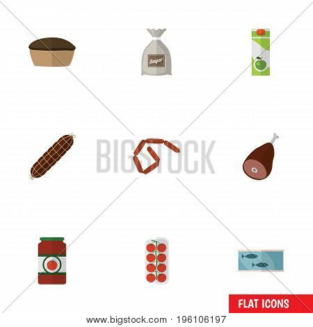 Flat Icon Meal Set Of Tomato, Meat, Tart And Other Vector Objects