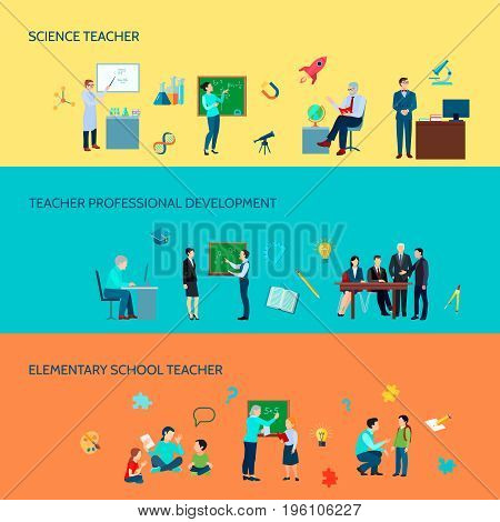 Elementary and secondary school teachers professional development 3 flat horizontal colorful background banners set isolated vector illustration