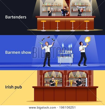Three horizontal cocktail people banner set with bartenders barmen show and irish pub descriptions vector illustration