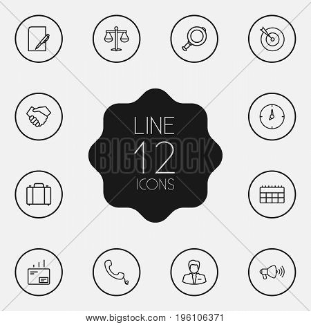 Set Of 12 Business Outline Icons Set