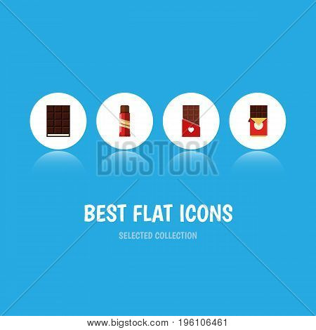 Flat Icon Bitter Set Of Chocolate Bar, Dessert, Sweet And Other Vector Objects