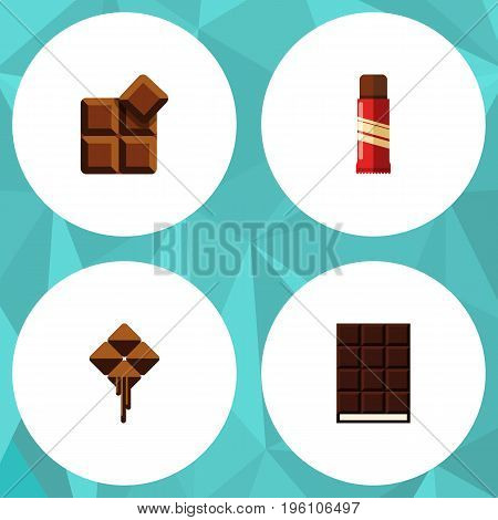 Flat Icon Cacao Set Of Dessert, Sweet, Cocoa And Other Vector Objects