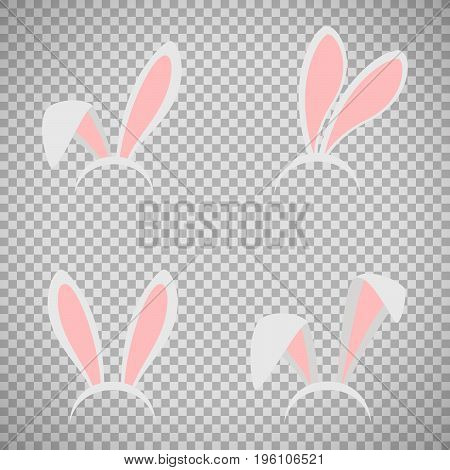 Easter bunny ears mask vector illustration. Ostern rabbit ear spring hat set isolated on transparent background