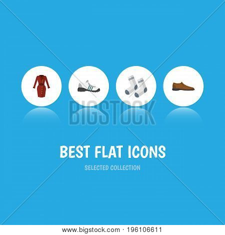 Flat Icon Clothes Set Of Sneakers, Male Footware, Foot Textile And Other Vector Objects