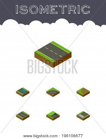 Isometric Road Set Of Underground, Turning, Footpassenger And Other Vector Objects