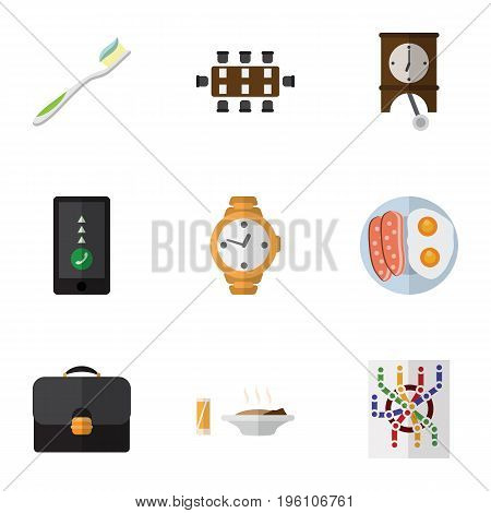 Flat Icon Life Set Of Lunch, Fried Egg, Briefcase And Other Vector Objects