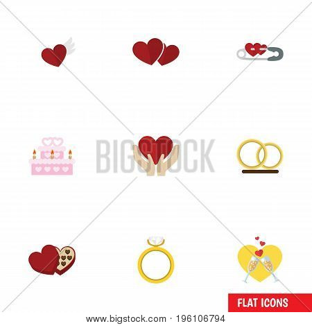 Flat Icon Amour Set Of Wings, Shaped Box, Save Love And Other Vector Objects