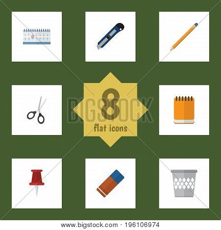 Flat Icon Stationery Set Of Notepaper, Knife, Drawing Tool And Other Vector Objects