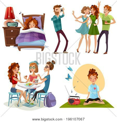 Young woman nonworking day off with friends and yoga for energy boost 4 cartoon icons vector illustration