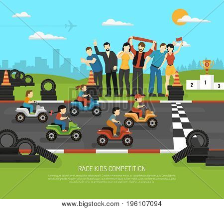 Race kids competition drive sport composition with flat children characters on race track and adult supporters vector illustration