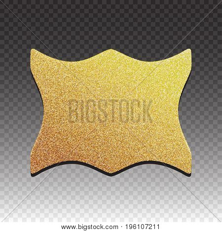 Premium quality golden label over white background.Gold Sign Shiny Luxury Badge.