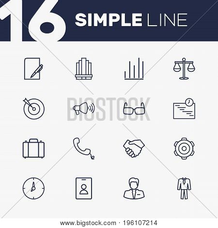 Set Of 16 Management Outline Icons Set