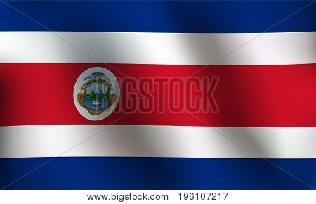 Flag of Costa Rica with a little Waving Shading & Flag Colors separated layers - Vector Illustration