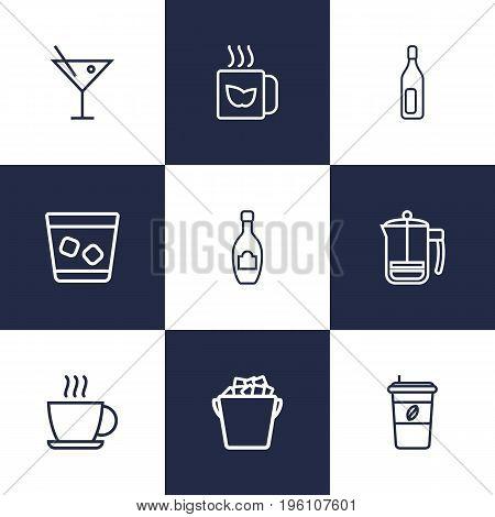 Set Of 9 Beverages Outline Icons Set