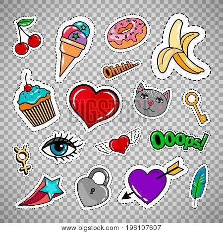 Sweet quirky badges set with food, hearts and cat. Vector colorful stickers and patches collection isolated on transparent background