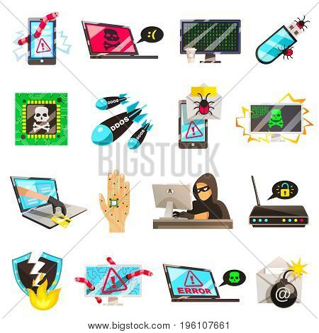 Hacker set of isolated conceptual images of computer viruses wire fraud password breaking and cyberterrorism pictograms vector illustration