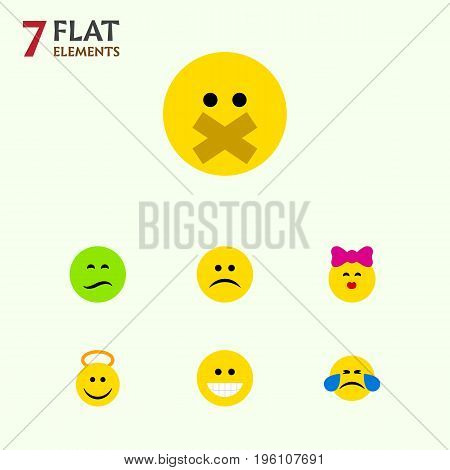 Flat Icon Gesture Set Of Caress, Cold Sweat, Angel And Other Vector Objects