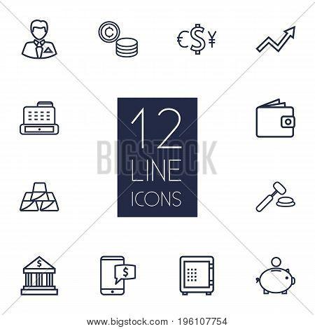 Set Of 12 Finance Outline Icons Set