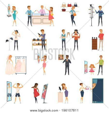 Colored and isolated trying shop flat people icon set with trying on clothes in store vector illustration