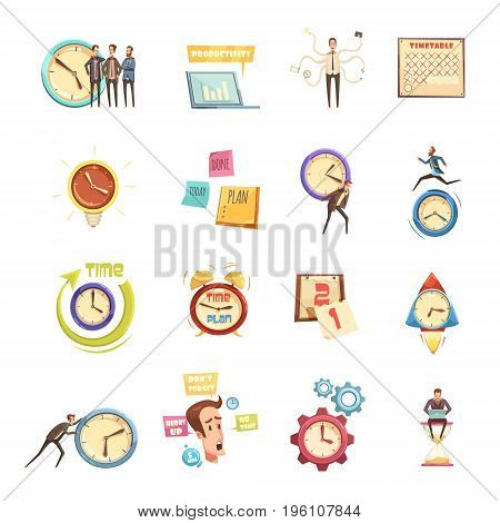 Time management set of retro cartoon icons with hurry man planning productivity startup calendar isolated vector illustration