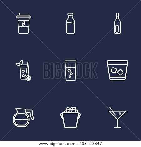 Set Of 9 Drinks Outline Icons Set