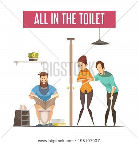 Queue at toilet design concept with people waiting at front toilet and man reading newspaper on lavatory flat vector illustration