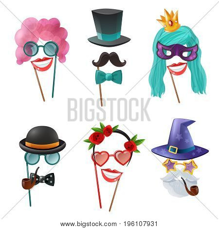 Photo booth party set of carnival accessories with mask wig tie butterfly monocle tobacco pipe isolated cartoon elements vector illustration