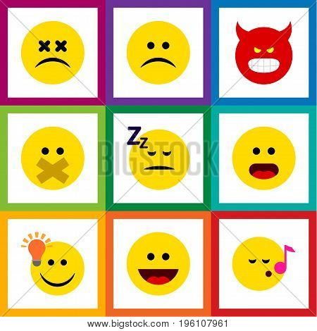 Flat Icon Emoji Set Of Asleep, Sad, Descant And Other Vector Objects