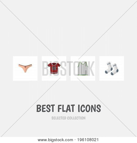 Flat Icon Clothes Set Of Lingerie, Singlet, Foot Textile And Other Vector Objects