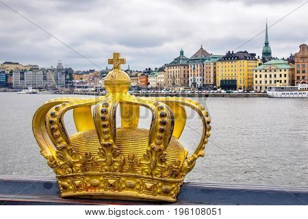 Golden crown on Skeppsholmsbron bridge. Stockholm Sweden Scandinavia