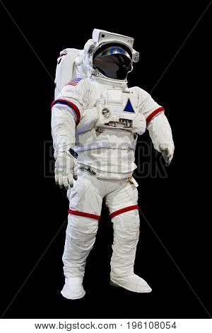 astronaut wearing spacesuit isolated on black background