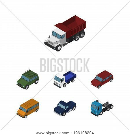 Isometric Car Set Of Car, Autobus, Lorry And Other Vector Objects