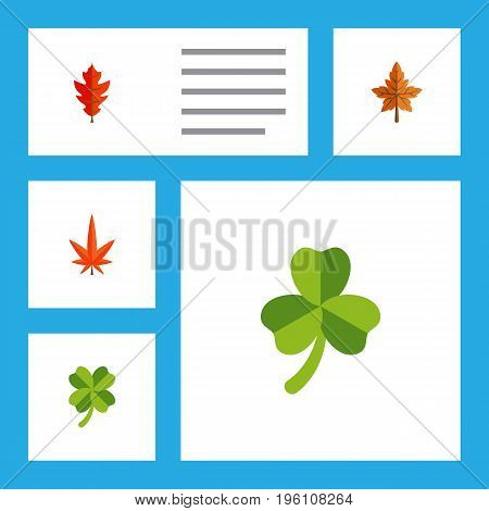 Flat Icon Maple Set Of Frond, Leafage, Aspen And Other Vector Objects