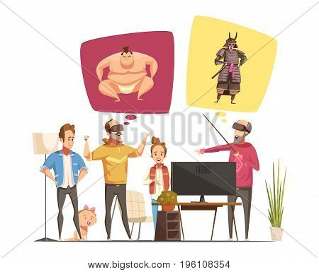 Family hobbies design concept with family members cartoon figurines and their virtual reality glasses flat vector illustration